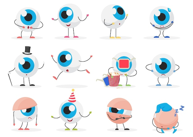 Cartoon cute funny eye ball emoticon character emotions poses set
