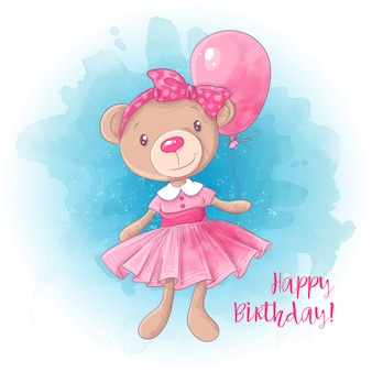 Cartoon cute girl bear with a balloon. birthday card.