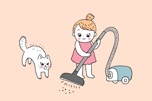 Cartoon cute girl and cat cleaning vector.