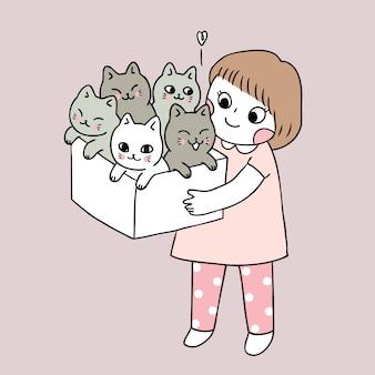 Cartoon cute girl and cats vector.