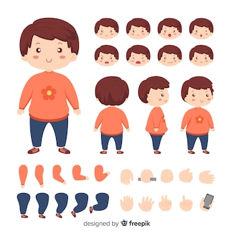 Cartoon cute girl character template