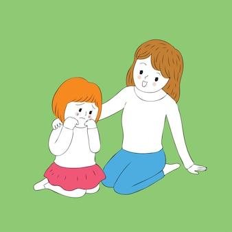 Cartoon cute  girl crying vector.