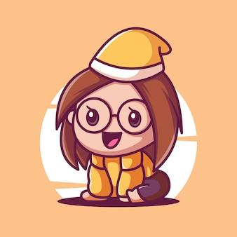 眼鏡の漫画かわいい女の子ベクトルアイコンイラスト
