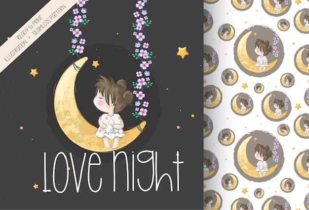 Cartoon cute girl on the moon seamless pattern