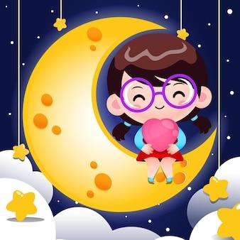 달에 앉아서 마음을 잡고 만화 귀여운 소녀