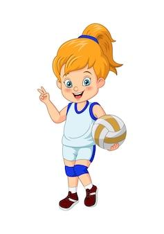漫画のかわいい女の子のバレーボール選手