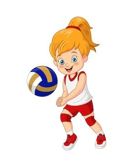漫画かわいい女の子のバレーボール選手