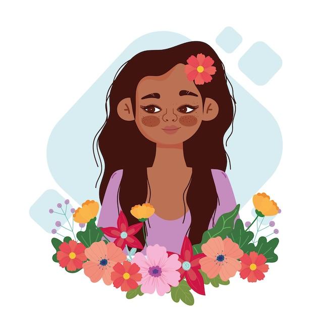花と漫画のかわいい女の子