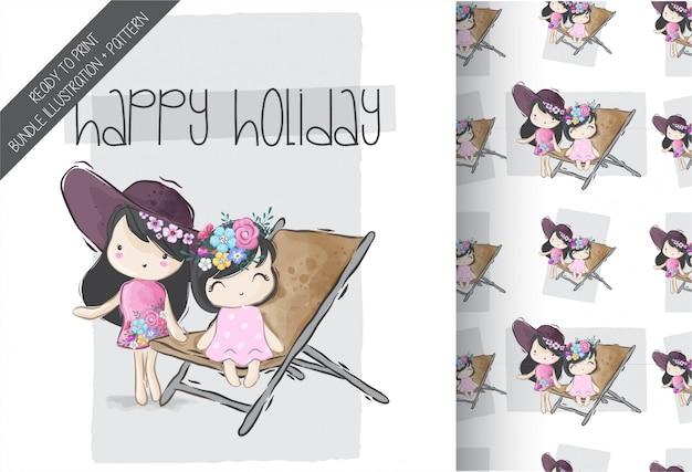Cartoon cute  girls happy summer with seamless pattern