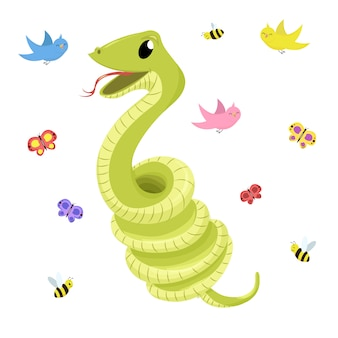 Cartoon cute green smiles snake vector animal illustration.