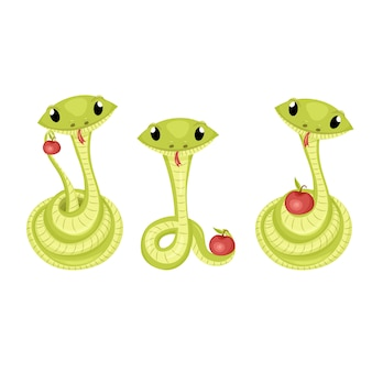 Cartoon cute green smiles snake