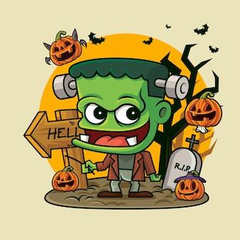 Cartoon cute green zombie holding pumpkin lantern on creepy halloween background