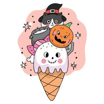 만화 귀여운 할로윈 큰 아이스크림 멋진 트릭이나 치료
