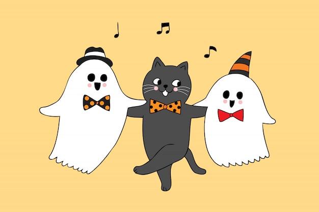 귀여운 할로윈 고양이 춤과 유령 벡터 만화.