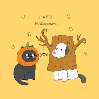 Cartoon cute halloween cat and dog vector.