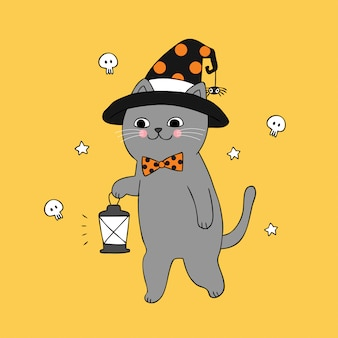 Cartoon cute halloween cat and light vector.