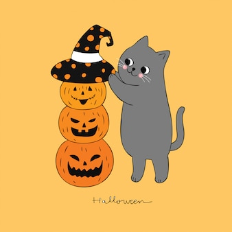 Cartoon cute halloween cat and pumpkin vector.