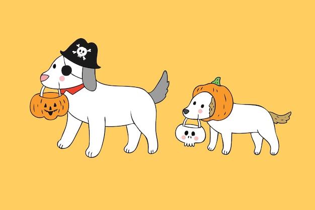 漫画かわいいハロウィーンの犬のトリックや治療のベクトル。
