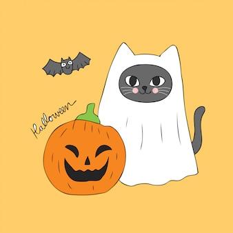 귀여운 할로윈 유령 고양이 호박 벡터 만화.