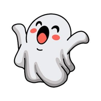 손을 올리는 만화 귀여운 할로윈 유령