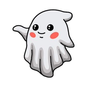 Мультфильм милый призрак хэллоуин машет рукой