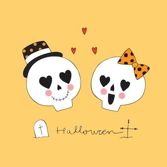 Cartoon cute halloween lover skeletons vector.