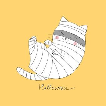 귀여운 할로윈 미라 고양이 자 벡터 만화.
