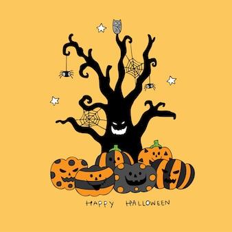 Cartoon cute halloween pumpkins and evil tree vector.