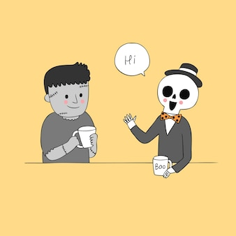 Cartoon cute halloween skeleton talking zombie vector.