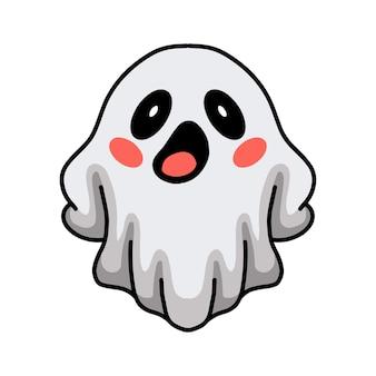 만화 귀여운 할로윈 흰색 유령 포즈