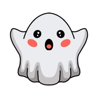 손을 올리는 만화 귀여운 할로윈 흰색 유령