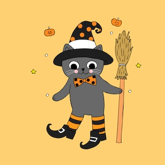 Cartoon cute halloween witch cat vector.