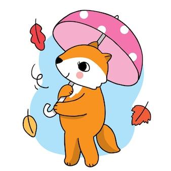 Cartoon cute hand draw fox and umbrella autumn vector
