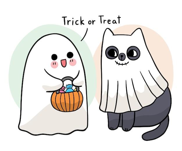 Мультфильм милая рука нарисовать призрак и черный кот трюк или угощение хэллоуин день вектор