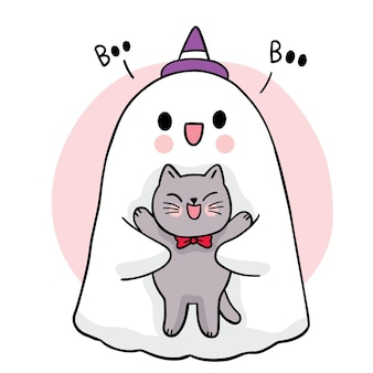 Мультфильм милая рука рисовать призрак обнять черный кот хэллоуин день вектор