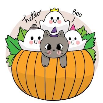 Cartoon cute hand draw halloween day black cat and mummy fox talkingt vector