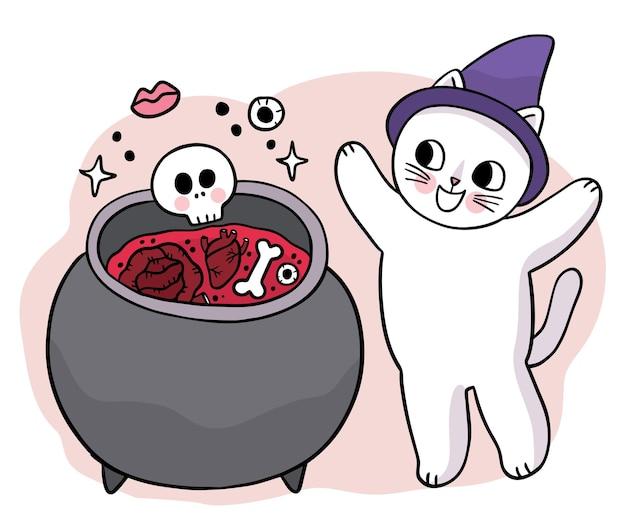 Мультяшный милая рука рисовать ведьму и кошку с изображением дня хэллоуина вектор