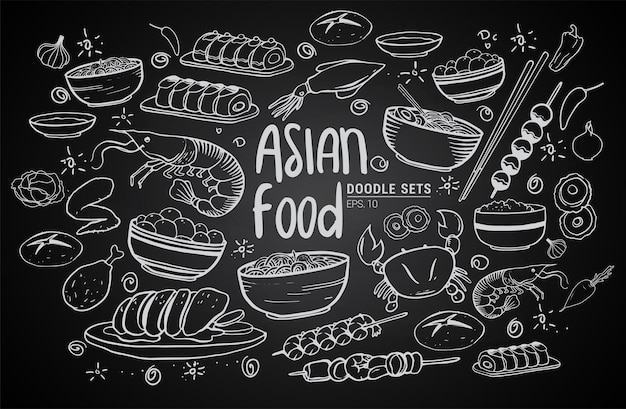 Cartoon cute hand drawn japan food seamless pattern. line art with lots of objects background. endless funny vector illustration. sketchy backdrop with asian cuisine symbols and items
