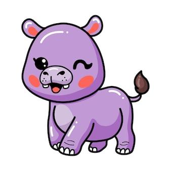 만화 귀여운 행복한 아기 하마