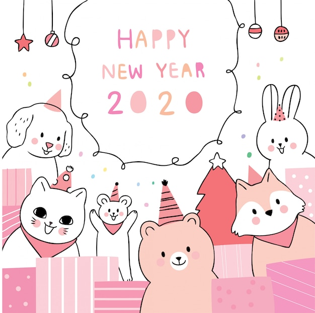 Cartoon cute happy new year, animals party.