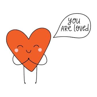 Мультяшное милое сердце с буквами, вы любите векторные иллюстрации на день святого валентина