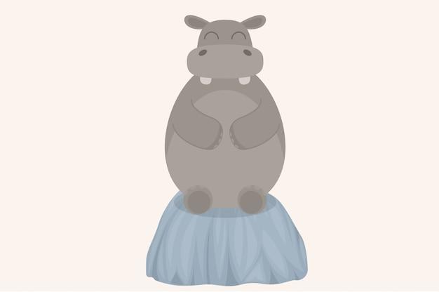 Cartoon cute hippo sitting on a rock
