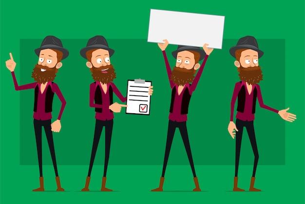 Cartoon cute hipster boy character big vector set