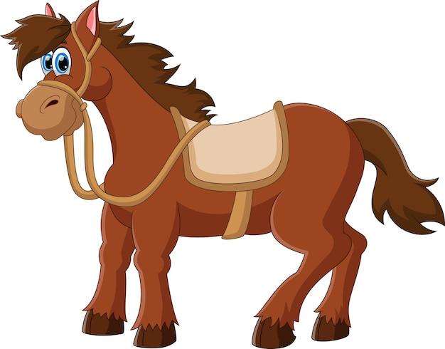 Мультфильм милая лошадь на белом