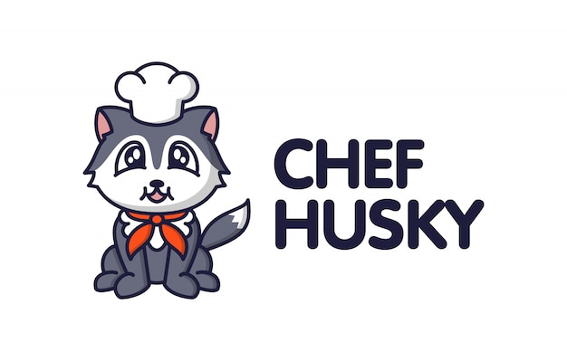 Cartoon cute husky character mascot logo