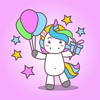 Cartoon_cute kawaii unicorn bring balloon and gift
