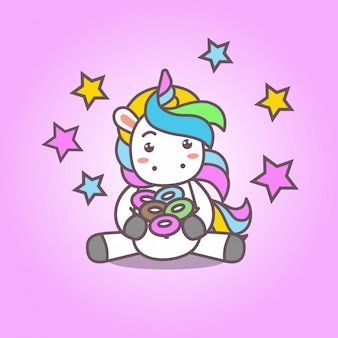 Cartoon_cute kawaii unicorn and desserts