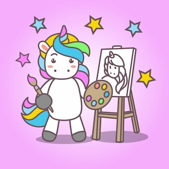Cartoon_cute kawaii unicorn painting