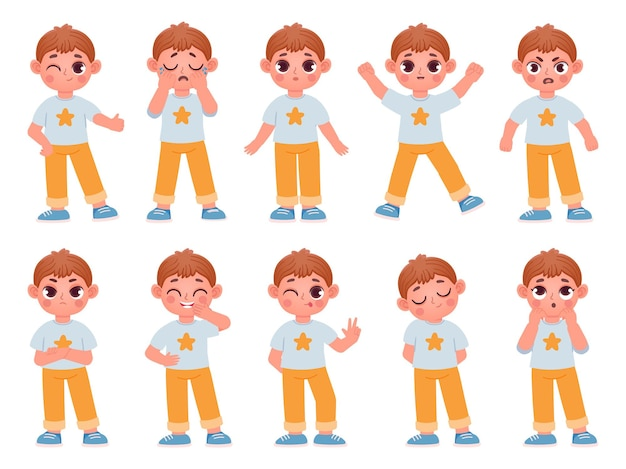 Cartoon cute kid boy character expressions and emotions. little child laugh, smile, cry and surprise. angry, sad, happy boy pose vector set. boy emotion happy and laugh, facial expressive illustration