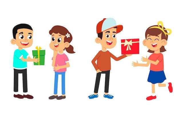 漫画のかわいい子供たちはお互いに贈り物をします。少年はガールフレンドに美しい箱を渡します。白い背景に分離